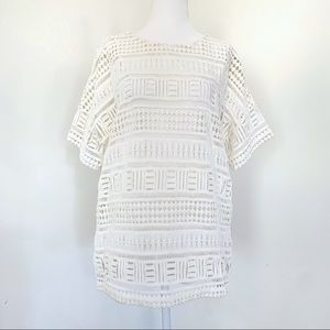Vince Short Sleeve Lace Top off-white small #521